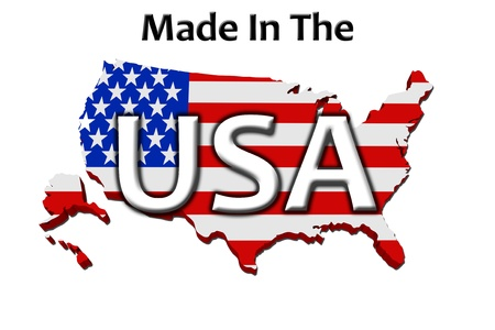 A red, white and blue map of the USA with Made in America isolated on a white background, Made in the USA Stock Photo