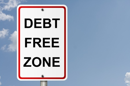 An American road sign with sky background and copy space for your message, Debt Free Zone Stock Photo
