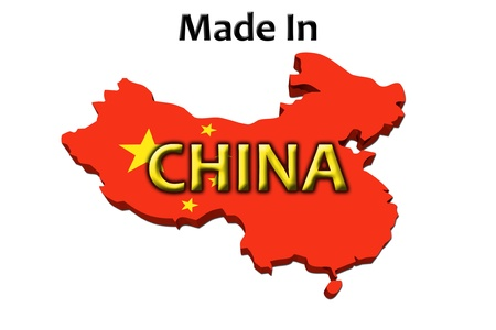 A red, white and blue map of the USA with Made in America isolated on a white background, Made in China photo