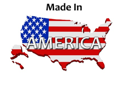 manufactured: A red, white and blue map of the USA with Made in America isolated on a white background, Made in America