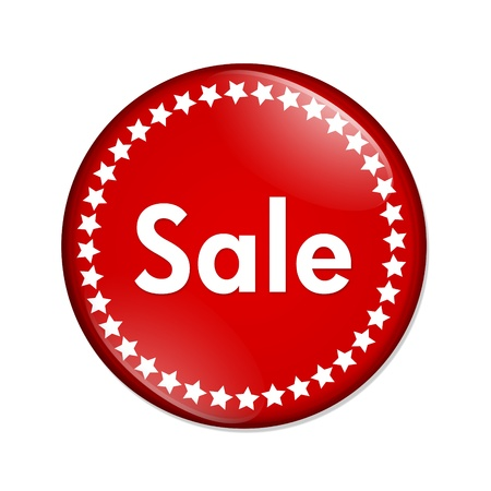 A red button with word sale and stars isolated on a white background, sale button Stock fotó