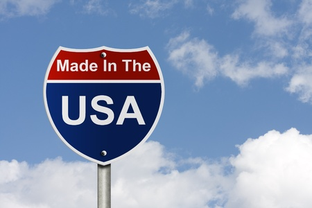 cloud industry: An American road sign with sky background and copy space for your message, Made In The USA Stock Photo