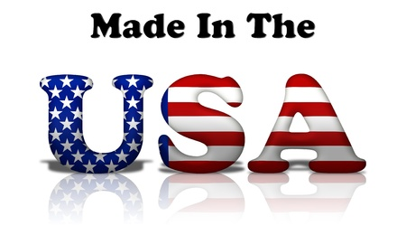 made in: The words made in the USA in the American flag colors isolated on white