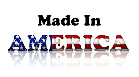 rendu: Les mots made in America dans les couleurs du drapeau am�ricain isol� sur blanc Banque d'images