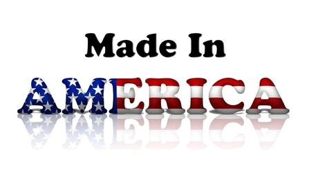made in: The words made in America in the American flag colors isolated on white Stock Photo