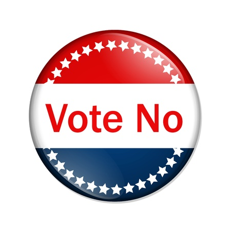 A red and blue button with words vote no isolated on a white background, Vote no button photo