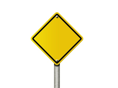 sign post: An American road warning sign isolated on white and copy space for your message, Blank Warning,