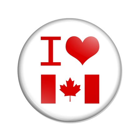 canadian flag: A white button with I heart Canada isolated on a white background, I love Canada