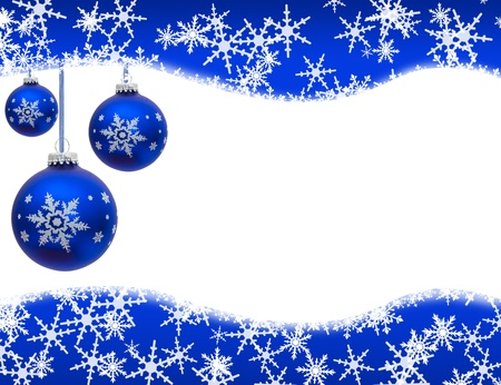 Christmas ornaments and snowflake border isolated on white, Christmas Time photo