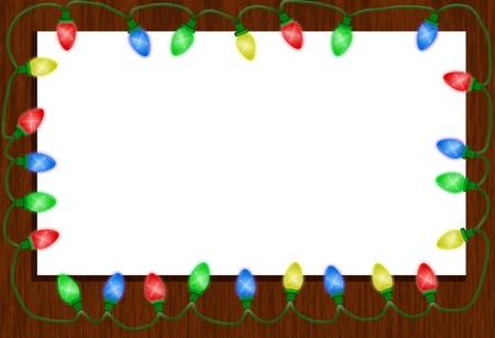 windows frame: Christmas Lights around a window isolated on white, Christmas Time Stock Photo