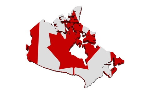 canadian flag: A red and white map of Canada with the Canadian flag isolated on white