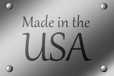 Brushed Steel Plate with screws in corner and the words made in the USA engraved