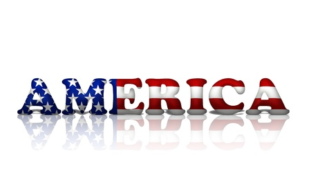 The word America in the American flag colors isolated on white