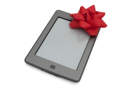 kindle: A touch e-reader with a red bow isolated on white Stock Photo