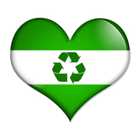 A green and white heart shaped button with recycle symbol isolated on a white background, Love Recycling button photo