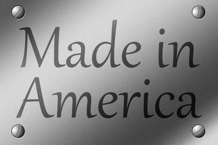 모서리에있는 나사와 미국에서 만든 단어로 솔질 된 강철 플레이트 각인