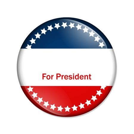 president: A red and blue button with words for president isolated on a white background,  Ron Paul for president Stock Photo