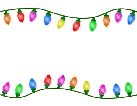 christmas flower: Multicolor Christmas lights border isolated on white, Christmas Time Stock Photo