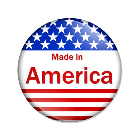 overwhite: A red, white and blue button with Made in America isolated on a white background, Made in the America button