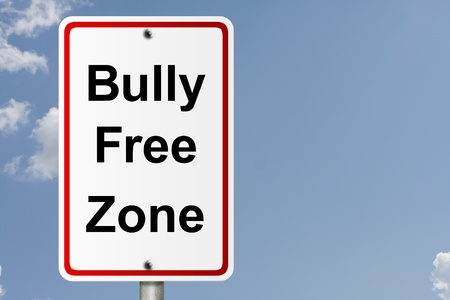An American road sign with sky background and copy space for your message, Bully Free Zone photo