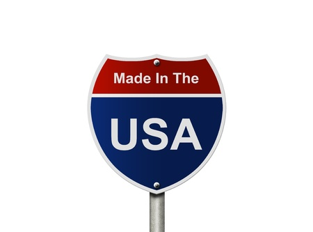 An American road sign isolated on white, Made In The USA Stock Photo - 11976491