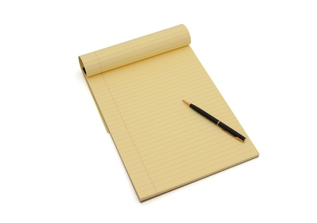 Blank yellow lined notepad with copy-space and a pen, Writing your ideas photo