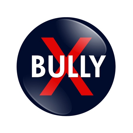 A blue, white and red  button with word Bully isolated on a white background, No Bully button photo