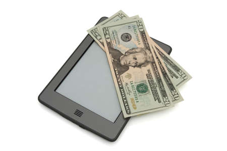 e books: A touch e-reader with money isolated on white Stock Photo