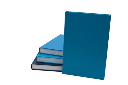 A Stack of blue books with one standing up to place your message, isolated on a white background