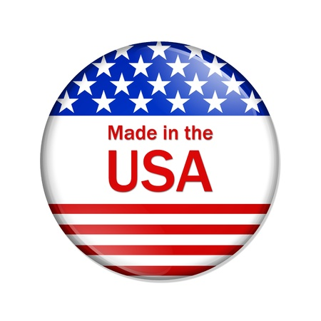 A red, white and blue button with Made in USA isolated on a white background, Made in the USA button Stock Photo