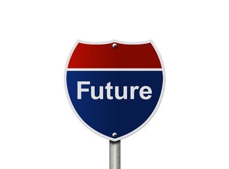 An American road sign isolated on white with word future, Future of America Stock Photo