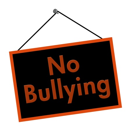 A black and orange sign with the words No Bullying isolated on a white background Stock Photo - 12082533