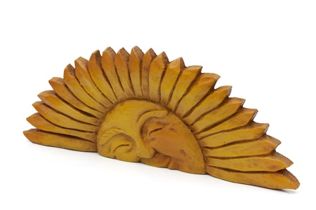 fake smile: A wooden golden sun isolated on a white background, Sunshine Stock Photo