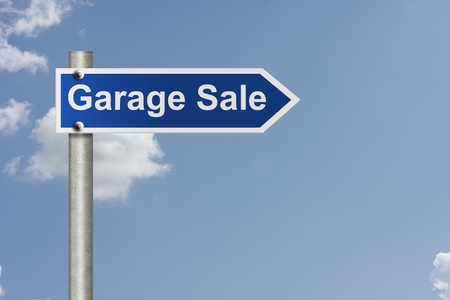 An American road signs with sky background and words garage sale, Garage Sale this way photo
