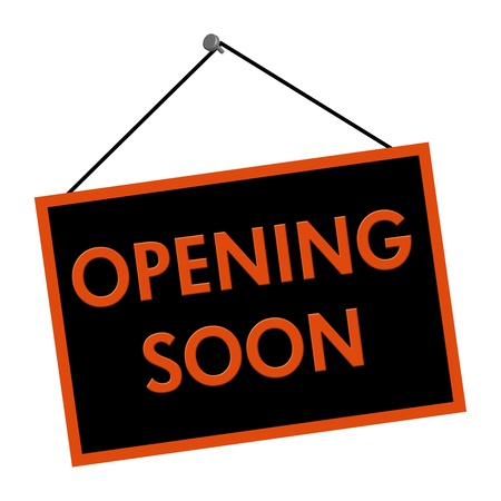 er�ffnung: Eine schwarze und orange Schild mit der Aufschrift Opening Soon auf wei�em Hintergrund isoliert Lizenzfreie Bilder