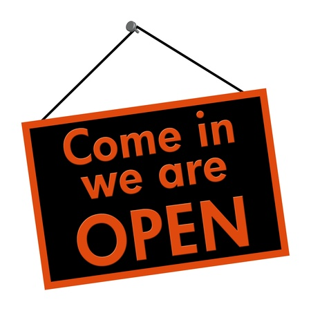 come in: A black and orange sign with the words Come in we are open sign isolated on a white background
