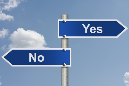 yes or no: American road signs with the sky with words, yes and no, Indecision Stock Photo