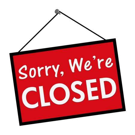A red, white and black sign with the words sorry we are closed isolated on a white background
