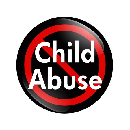 A black, white and red  button with words Child Abuse isolated on a white background, No Child Abuse button