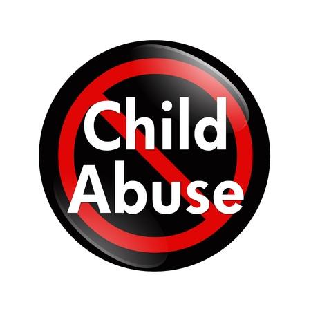 maltrato infantil: Un bot�n negro, blanco y rojo con el abuso infantil palabras aisladas sobre un fondo blanco, no el bot�n de abuso infantil