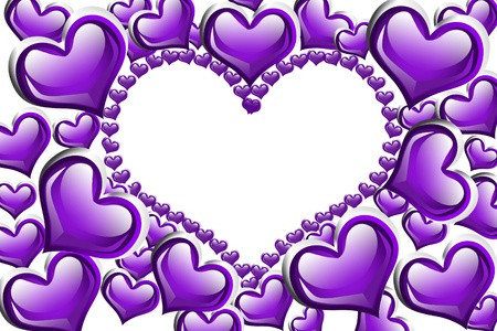 mauve: Purple hearts with a copy-space of a heart shape isolated on a white background, Purple Hearts background