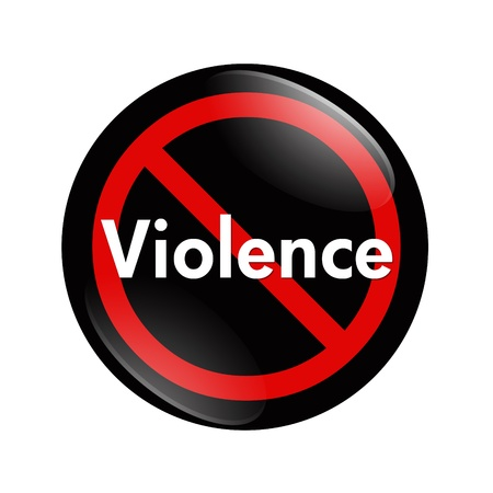 A black, white and red  button with word violence isolated on a white background, No Violence button Stock Photo - 12686480