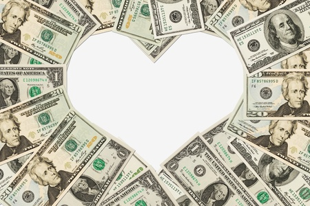 dollar bills: Dollar bills in the shape of a heart isolated on white background, The love of money Stock Photo