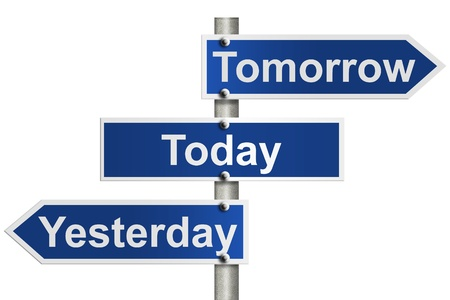 tomorrow: An American road sign isolated on white and Yesterday, Today and Tomorrow signs, Only today counts