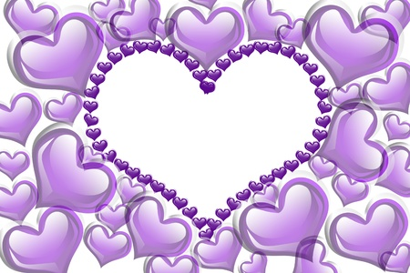 Purple hearts with a copy-space of a heart shape isolated on a white background, Purple Hearts background photo