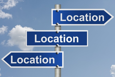 zip: American road signs with the sky with words location, location and location, Real estate is all about the location
