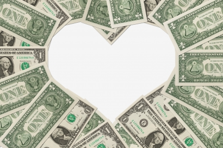 1: One dollar bills in the shape of a heart isolated on white background, The love of money Stock Photo