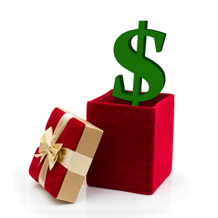 A red velvet present with a gold bow and green dollar sysmbol isolated on white, What to spend for a present