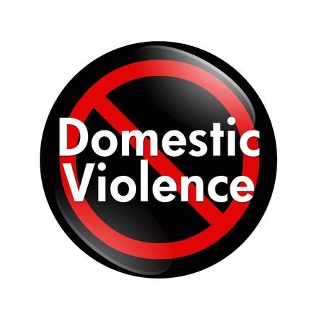 violencia intrafamiliar: Un botón negro, blanco y rojo con la Violencia Doméstica palabras aisladas sobre un fondo blanco, botón No Violencia Doméstica Foto de archivo