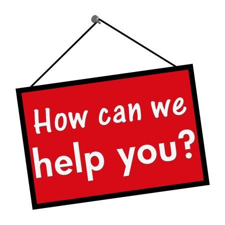 can we help: A red, white and black sign with the words How can we help you isolated on a white background